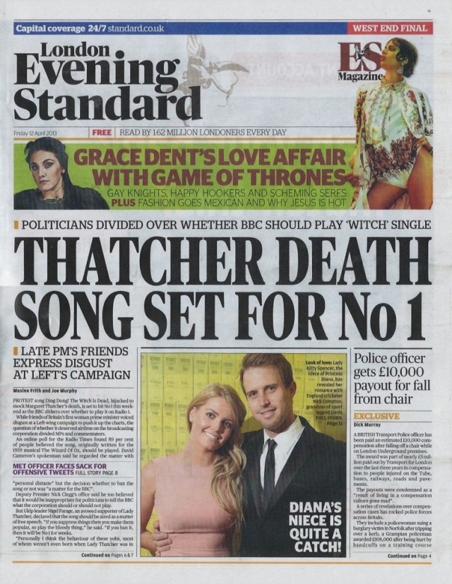 Evening Standard-front page-12.4.13
